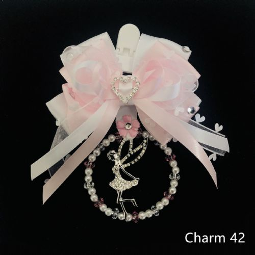 Stunning Hand Craft Pram Charm/White Pink Ribbons/ Fairy